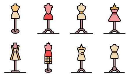 Mannequin icons flat