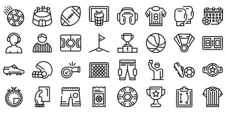 Referee icons set, outline style