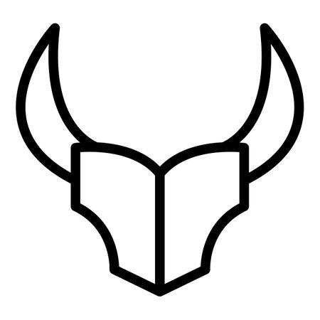 Wildebeest animal icon, outline style 写真素材
