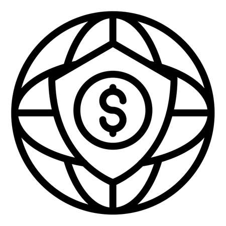 Secured credit union icon, outline style