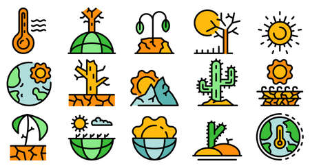 Drought icons flat