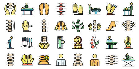 Osteopathy icons set flat Banque d'images