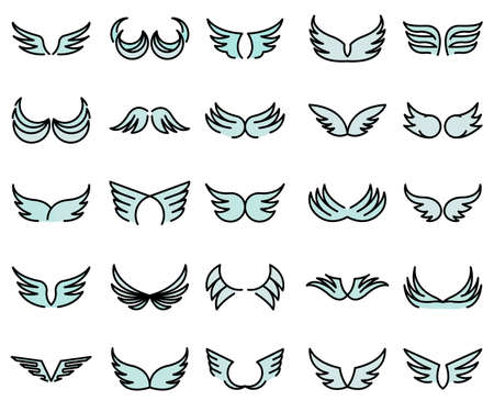 Wings icons set flat