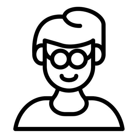Inclusive education blind kid icon, outline style 스톡 콘텐츠