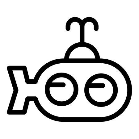 Toy submarine icon, outline style 版權商用圖片