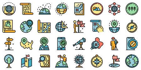 Cartographer icons set flat