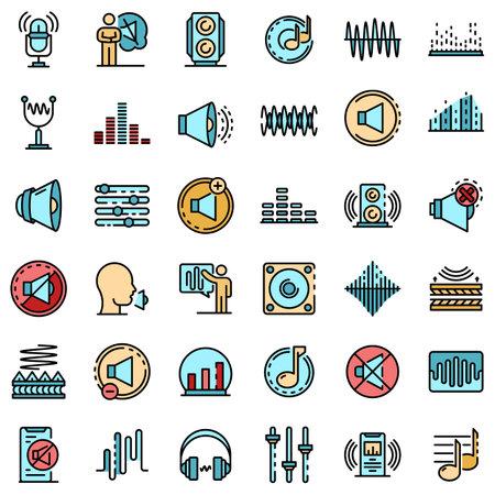 Acoustics icons set flat
