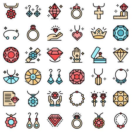 Jeweler icons set flat
