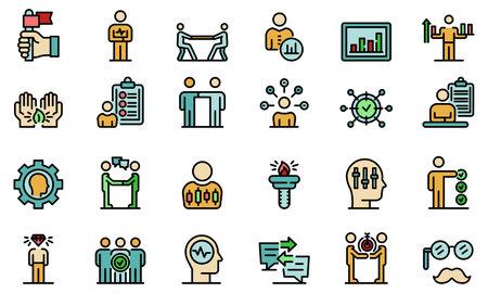 Personal traits icons set flat