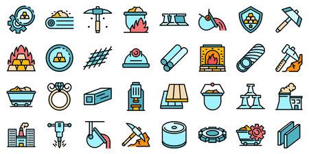 Metallurgy icons set flat Imagens