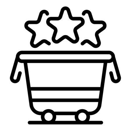 Bonus shop cart icon, outline style Stock Photo
