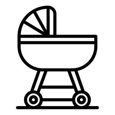 Baby pram icon, outline style