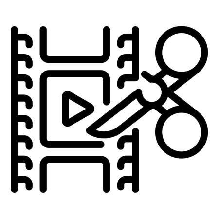 Cutting video icon, outline style