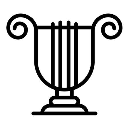 Greek ancient harp icon, outline style