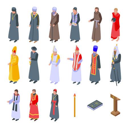 Priest icons set, isometric style