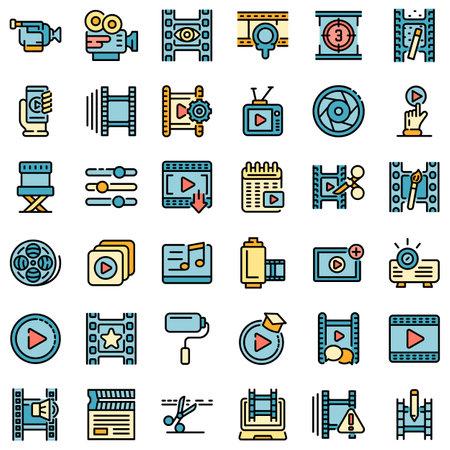 Video editing icons set flat