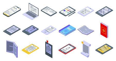 E-book application icons set, isometric style