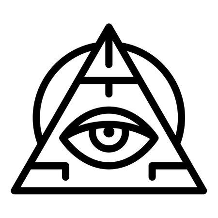 Pyramide eye amulet icon, outline style Stock Photo