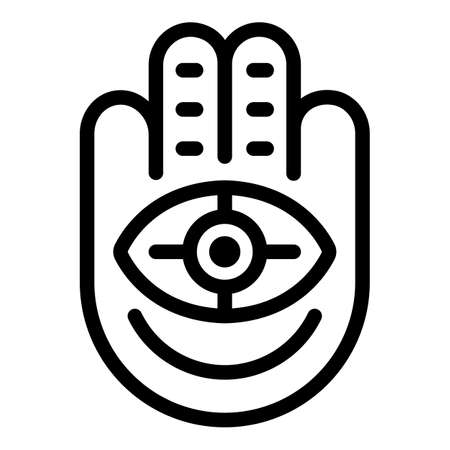 Hand eye amulet icon, outline style