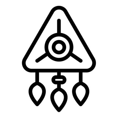 Triangle amulet icon, outline style