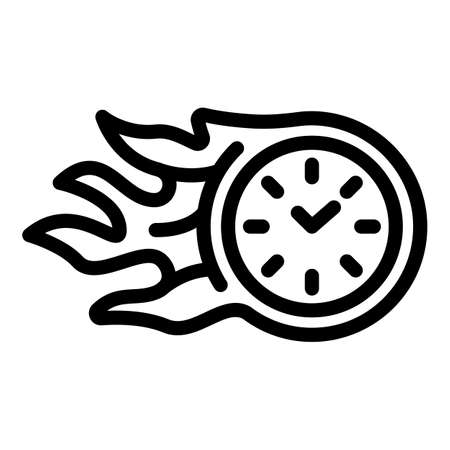 Fire stopwatch icon, outline style