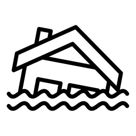 House in flood icon, outline style