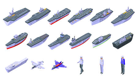 Aircraft carrier icons set, isometric style