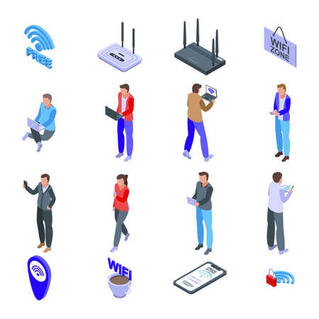 Wifi zone icons set, isometric style Stock Photo