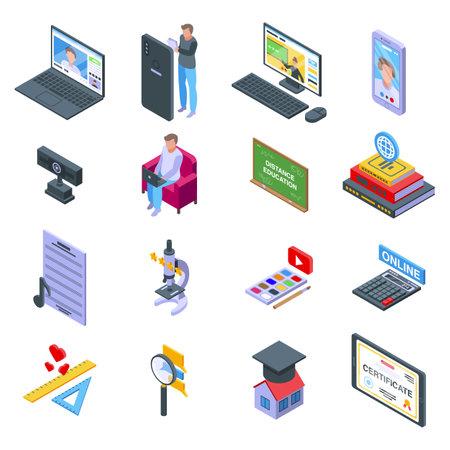 Distance education icons set, isometric style