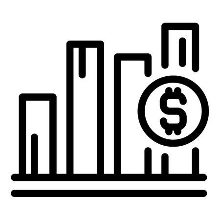 Analytics dollar icon, outline style Stock Photo