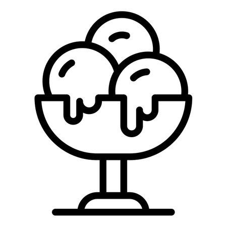 Ice cream balls icon, outline style