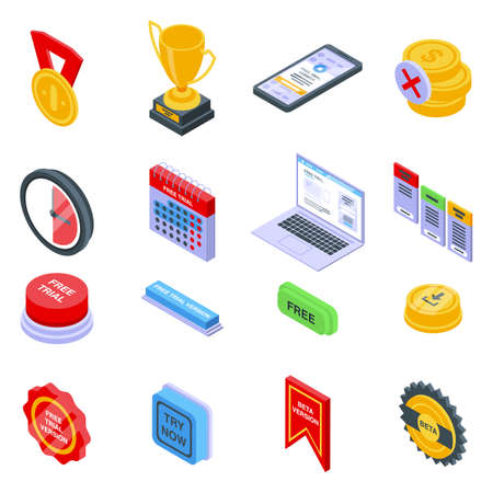 Free trial version icons set, isometric style Stock Photo