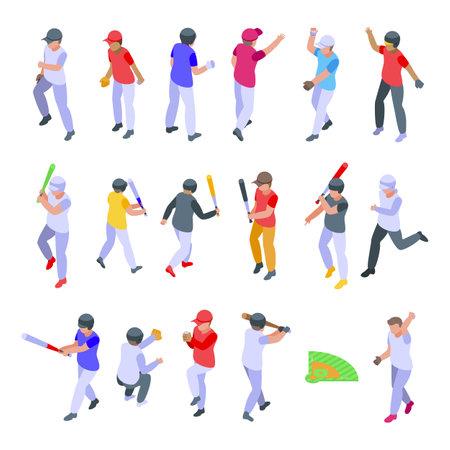 Kids playing baseball icons set, isometric style