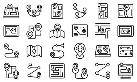 Itinerary icons set, outline style Imagens