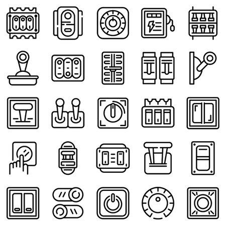 Breaker switch icons set, outline style Foto de archivo