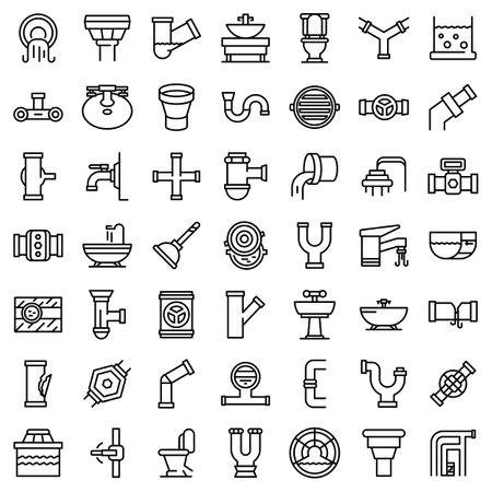 Sewerage icons set, outline style Stock Photo