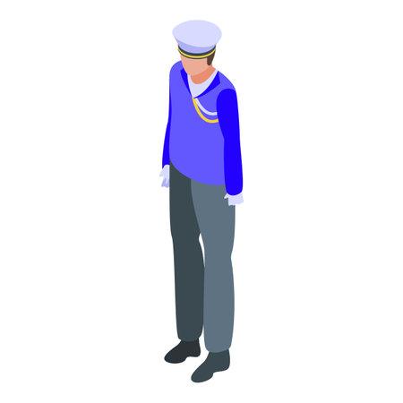 Aircraft carrier soldier icon, isometric style Ilustración de vector