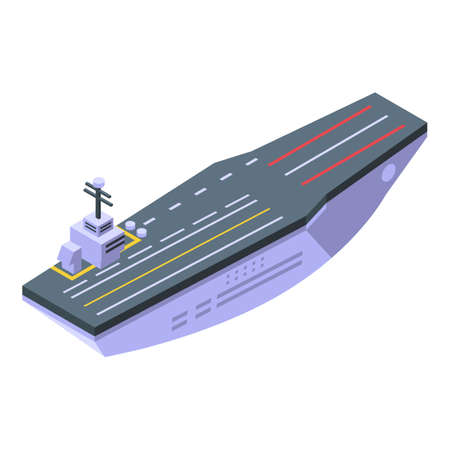 Aircraft carrier aviation icon, isometric style