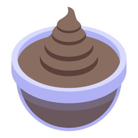 Chocolate paste bowl icon, isometric style Vettoriali