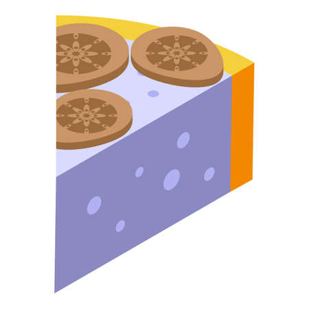 Figs cheese cake icon, isometric style