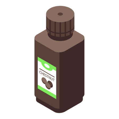 Chestnut oil bottle icon, isometric style Иллюстрация