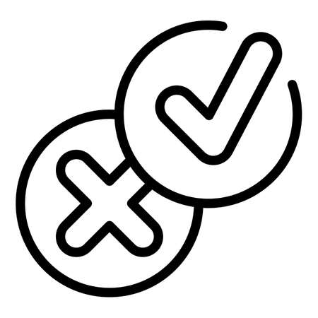 Approved rejected control icon, outline style