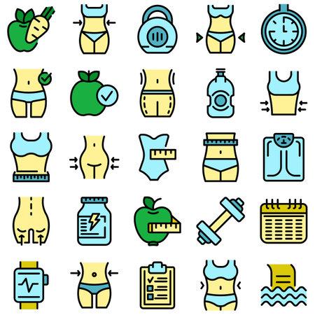 Slimming icons set vector flat