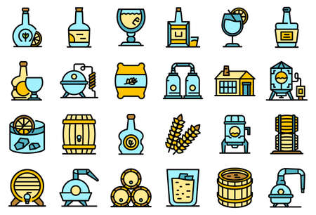 Bourbon icons set vector flat Ilustración de vector