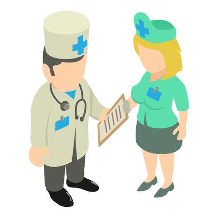 Medical staff icon. Isometric illustration of medical staff vector icon for web