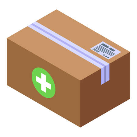 Drug delivery parcel icon. Isometric of drug delivery parcel vector icon for web design isolated on white background Çizim