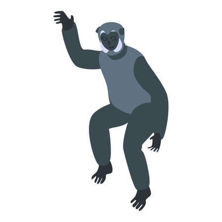 Character gibbon icon. Isometric of character gibbon vector icon for web design isolated on white background