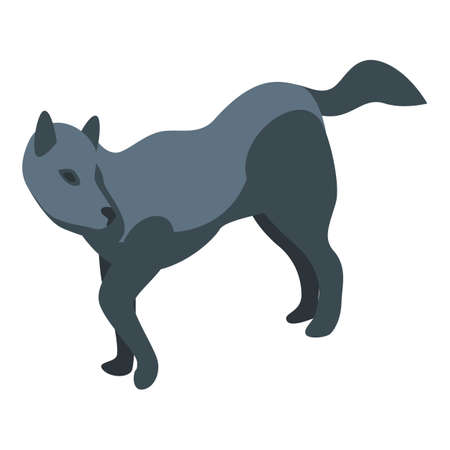Black wolf icon. Isometric of black wolf vector icon for web design isolated on white background
