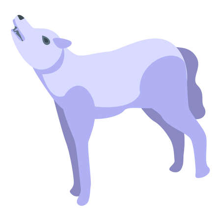 White wolf icon. Isometric of white wolf vector icon for web design isolated on white background