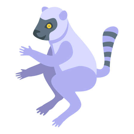 Exotic lemur icon. Isometric of exotic lemur vector icon for web design isolated on white background